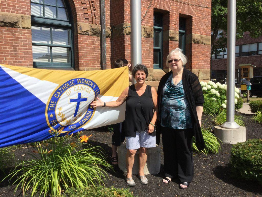 Elaine and Irene - Flag Raising